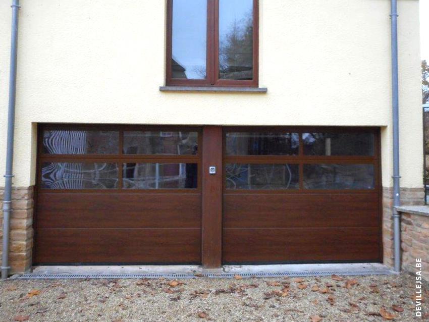 Portes de garage hormann type lpu40 avec panneaux vitr s for Porte hormann